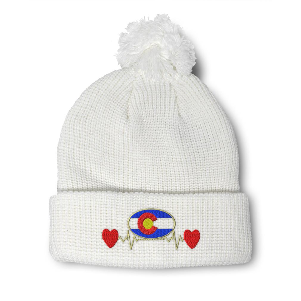thumbnail 8 - Pom Pom Beanies for Women Colorado Flag Lifeline A Embroidery Acrylic Skull Cap