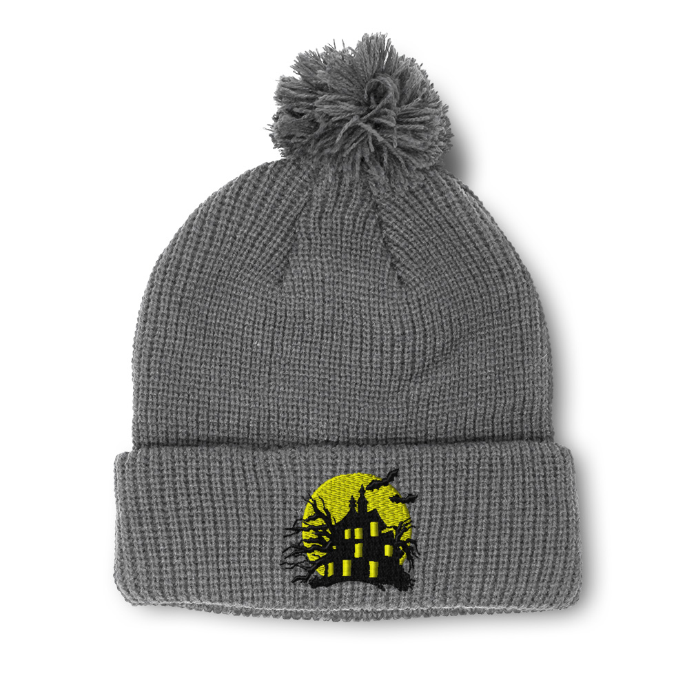 thumbnail 8 - Pom Pom Beanies for Women Haunted House Embroidery Winter Hats for Men Skull Cap