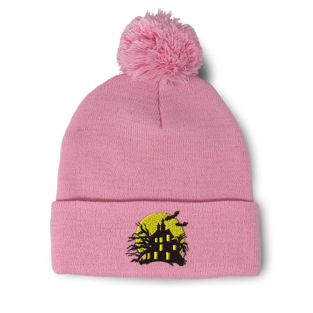 thumbnail 14 - Pom Pom Beanies for Women Haunted House Embroidery Winter Hats for Men Skull Cap