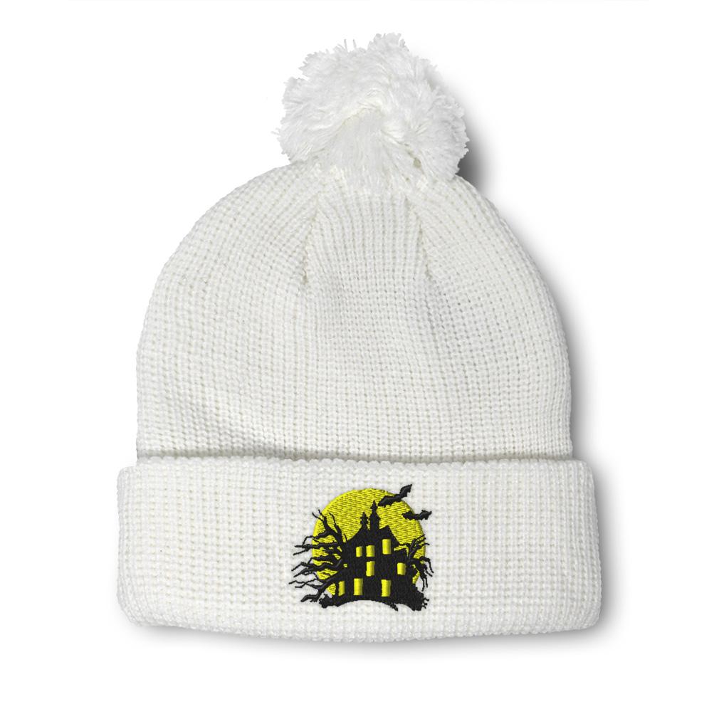 thumbnail 16 - Pom Pom Beanies for Women Haunted House Embroidery Winter Hats for Men Skull Cap