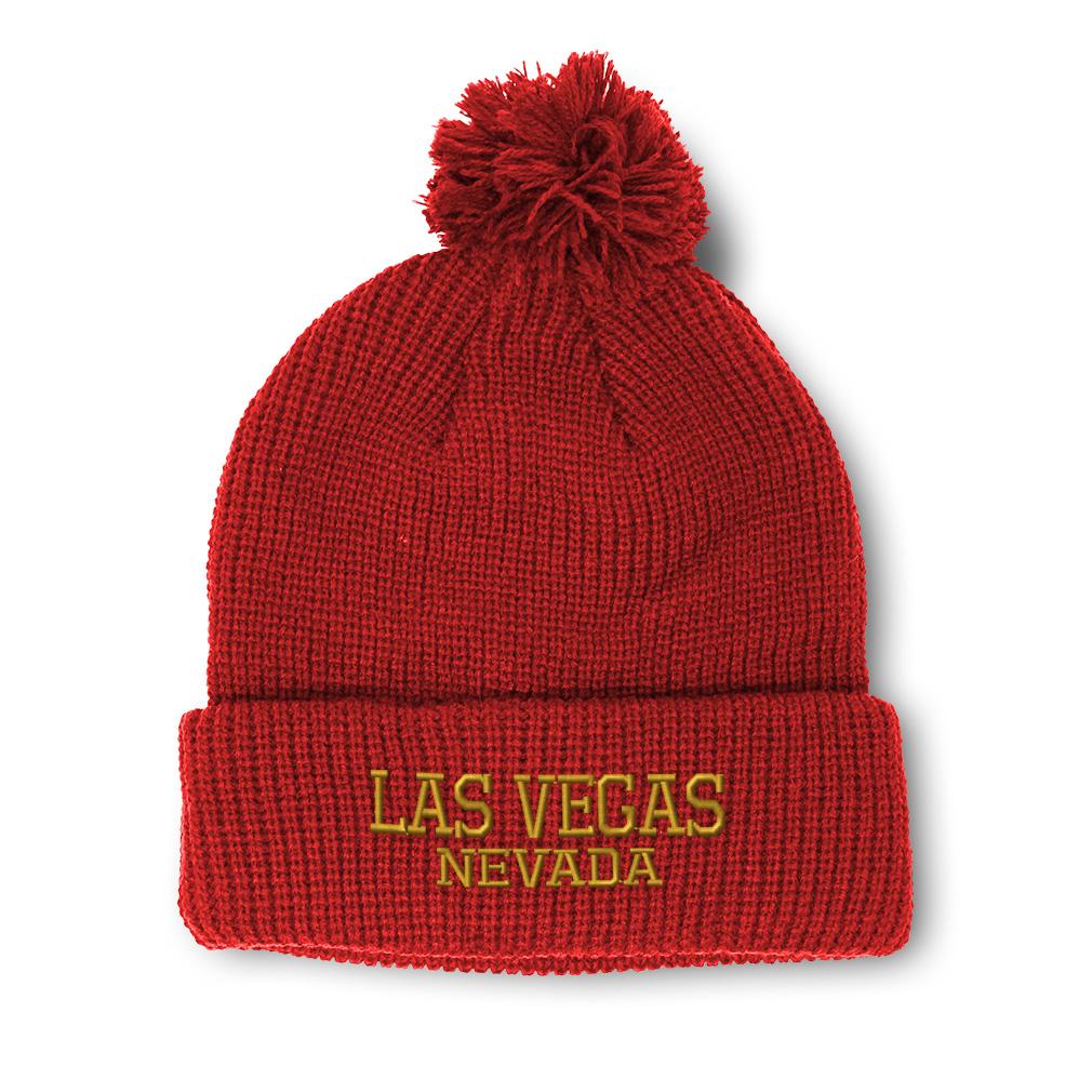 thumbnail 14 - Pom Pom Beanies for Women Nevada Las Vegas United States Embroidery Skull Cap