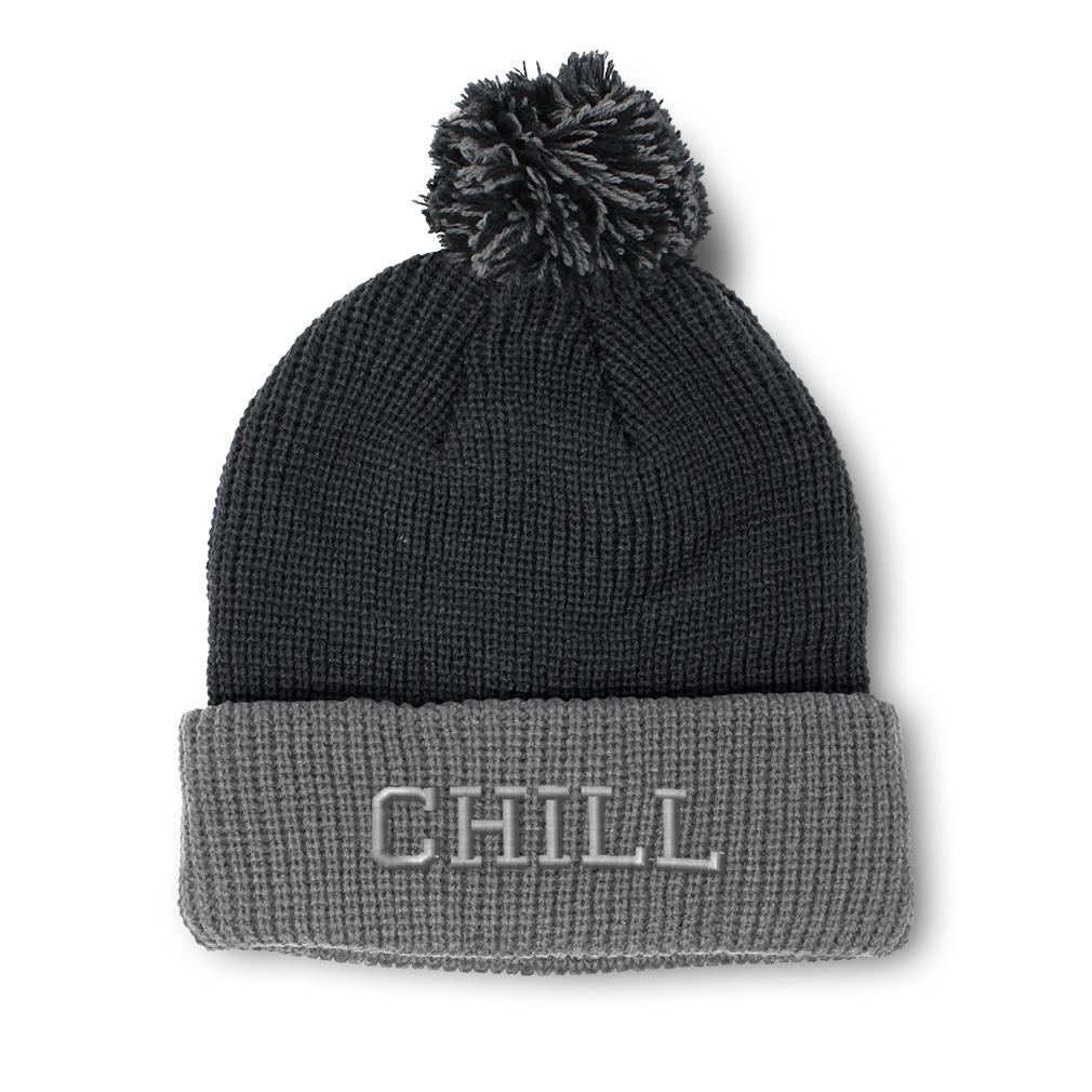 thumbnail 18 - Pom Pom Beanies for Women Chill Embroidery Winter Hats for Men Acrylic Skull Cap