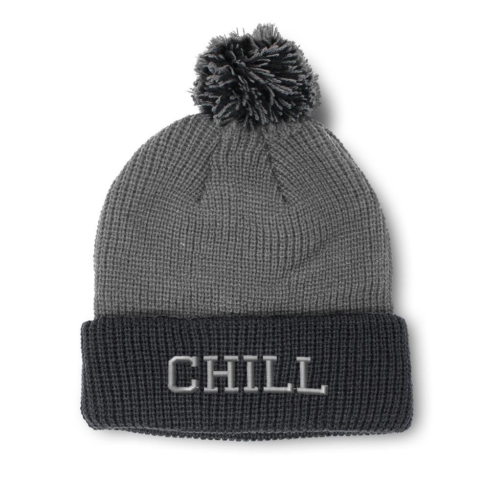 thumbnail 20 - Pom Pom Beanies for Women Chill Embroidery Winter Hats for Men Acrylic Skull Cap