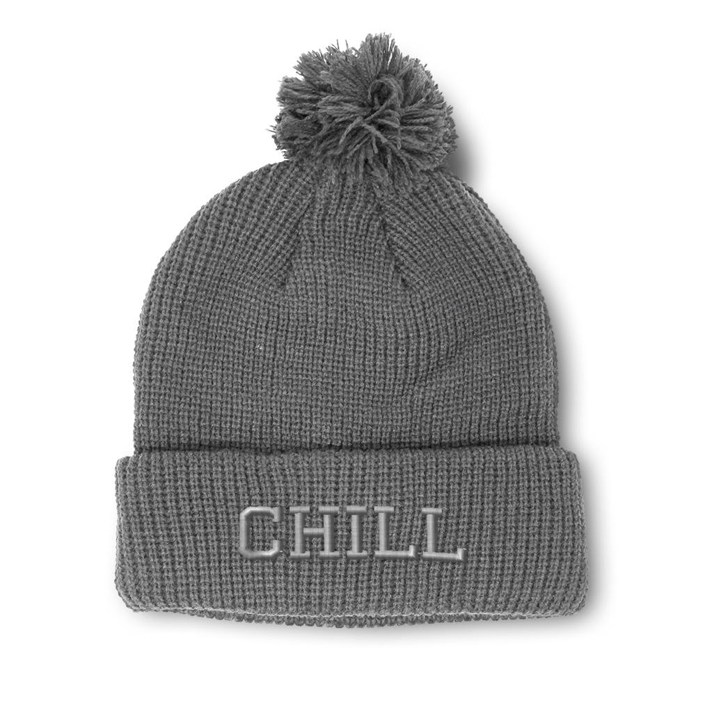 thumbnail 10 - Pom Pom Beanies for Women Chill Embroidery Winter Hats for Men Acrylic Skull Cap