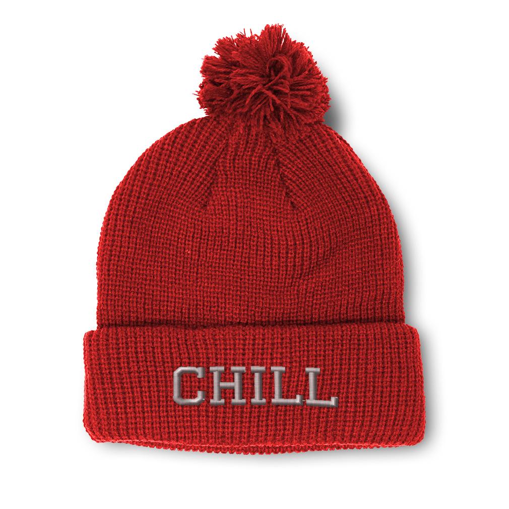 thumbnail 14 - Pom Pom Beanies for Women Chill Embroidery Winter Hats for Men Acrylic Skull Cap