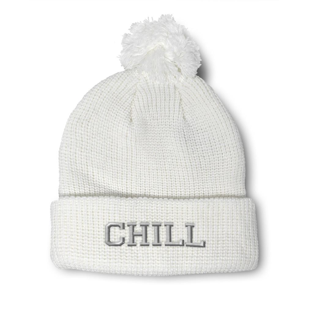 thumbnail 8 - Pom Pom Beanies for Women Chill Embroidery Winter Hats for Men Acrylic Skull Cap