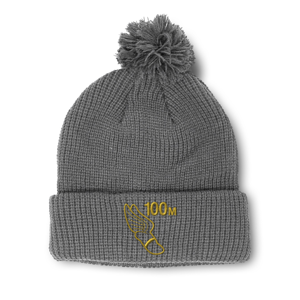 thumbnail 8 - Pom Pom Beanies for Women 100 Meters Race Gold Embroidery Acrylic Skull Cap