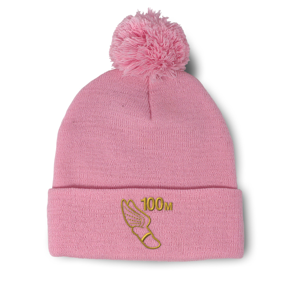thumbnail 14 - Pom Pom Beanies for Women 100 Meters Race Gold Embroidery Acrylic Skull Cap