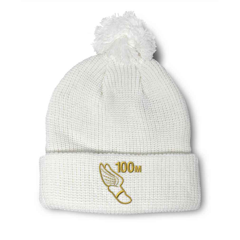 thumbnail 16 - Pom Pom Beanies for Women 100 Meters Race Gold Embroidery Acrylic Skull Cap
